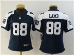 Dallas Cowboys #88 CeeDee Lamb Women's White Thanksgiving Blue Vapor Limited Jersey