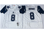 Dallas Cowboys #8 Troy Aikman 1995 Throwback White Jersey
