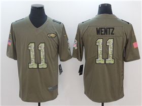 Philadelphia Eagles #11 Carson Wentz 2017 Olive Camo Salute To Service Limited Jersey