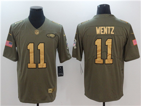 Philadelphia Eagles #11 Carson Wentz 2017 Olive Gold Salute To Service Limited Jersey