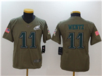 Philadelphia Eagles #11 Carson Wentz Youth Olive Salute To Service Limited Jersey