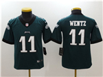 Philadelphia Eagles #11 Carson Wentz Youth Green Vapor Untouchable Limited Jersey