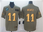 Philadelphia Eagles #11 Carson Wentz 2019 Olive Gold Salute To Service Limited Jersey