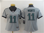 Philadelphia Eagles #11 Carson Wentz Women's Gray Inverted Limited Jersey