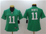 Philadelphia Eagles #11 Carson Wentz Women's Throwback Green Vapor Untouchable Limited Jersey