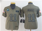 Philadelphia Eagles #11 Carson Wentz Youth 2019 Olive Salute To Service Limited Jersey