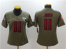 Atlanta Falcons #11 Julio Jones Women's Olive Salute To Service Limited Jersey