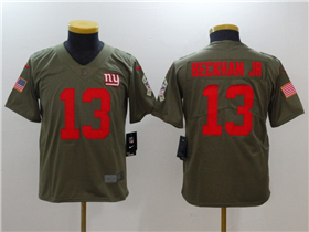 New York Giants #13 Odell Beckham Jr. Youth Olive Salute To Service Limited Jersey