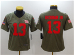 New York Giants #13 Odell Beckham Jr. Women's Olive Salute To Service Limited Jersey