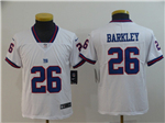 New York Giants #26 Saquon Barkley Youth White Color Rush Limited Jersey