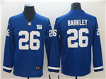 New York Giants #26 Saquon Barkley Blue Therma Long Sleeve Jersey
