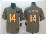 New York Jets #14 Sam Darnold 2019 Olive Gold Salute To Service Limited Jersey