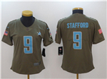 Detroit Lions #9 Matthew Stafford Women's Olive Salute To Service Limited Jersey