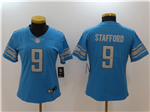 Detroit Lions #9 Matthew Stafford Women's Blue Vapor Untouchable Limited Jersey