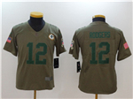 Green Bay Packers #12 Aaron Rodgers Youth Olive Salute To Service Limited Jersey