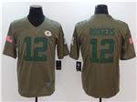 Green Bay Packers #12 Aaron Rodgers 2017 Olive Salute To Service Limited Jersey