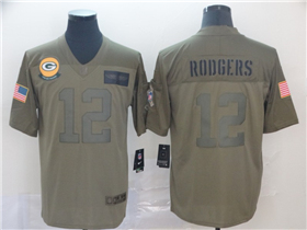 Green Bay Packers #12 Aaron Rodgers 2019 Olive Salute To Service Limited Jersey