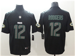 Green Bay Packers #12 Aaron Rodgers Black Vapor Impact Limited Jersey