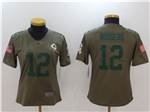 Green Bay Packers #12 Aaron Rodgers Women's Olive Salute To Service Limited Jersey