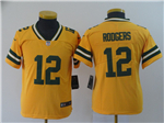 Green Bay Packers #12 Aaron Rodgers Youth Gold Inverted Limited Jersey