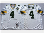 Green Bay Packers #4 Brett Favre Throwback White Jersey