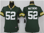 Green Bay Packers #52 Clay Matthews Women's Green Vapor Untouchable Limited Jersey