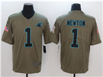 Carolina Panthers #1 Cam Newton 2017 Olive Salute To Service Limited Jersey