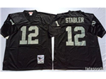 Oakland Raiders #12 Ken Stabler 1976 Throwback Black Jersey