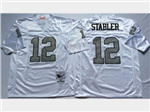 Oakland Raiders #12 Ken Stabler 1976 Throwback White/Silver Jersey