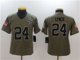 Oakland Raiders #24 Marshawn Lynch Youth Olive Salute To Service Limited Jersey
