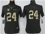 Oakland Raiders #24 Marshawn Lynch Anthracite Women's Salute to Service Jersey