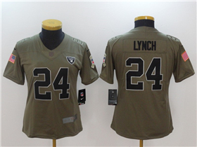 Oakland Raiders #24 Marshawn Lynch Women's Olive Salute To Service Limited Jersey