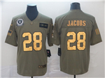 Oakland Raiders #28 Josh Jacobs 2019 Olive Gold Salute To Service Limited Jersey