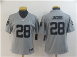 Oakland Raiders #28 Josh Jacobs Women's Gray Inverted Limited Jersey