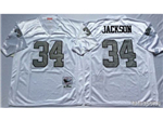 Los Angeles Raiders #34 Bo Jackson Throwback White/Silver Jersey