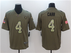 Oakland Raiders #4 Derek Carr 2017 Olive Camo Salute To Service Limited Jersey