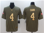 Oakland Raiders #4 Derek Carr 2017 Olive Gold Salute To Service Limited Jersey