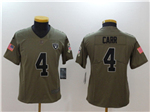 Oakland Raiders #4 Derek Carr Youth Olive Salute To Service Limited Jersey