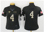 Oakland Raiders #4 Derek Carr Anthracite Women's Salute to Service Jersey