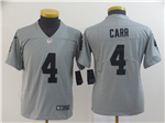 Oakland Raiders #4 Derek Carr Youth Gray Inverted Limited Jersey