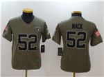 Oakland Raiders #52 Khalil Mack Youth Olive Salute To Service Limited Jersey