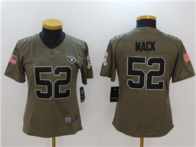 Oakland Raiders #52 Khalil Mack Women's Olive Salute To Service Limited Jersey