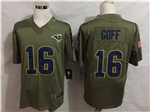 Los Angeles Rams #16 Jared Goff 2017 Olive Salute To Service Limited Jersey