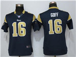 Los Angeles Rams #16 Jared Goff Women's Navy Blue Jersey