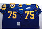 Los Angeles Rams #75 Deacon Jones Throwback Blue Jersey