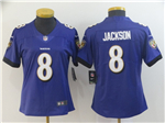 Baltimore Ravens #8 Lamar Jackson Women's Purple Vapor Untouchable Limited Jersey