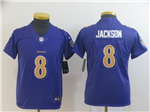 Baltimore Ravens #8 Lamar Jackson Youth Purple Color Rush Limited Jersey