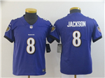 Baltimore Ravens #8 Lamar Jackson Youth Purple Vapor Untouchable Limited Jersey