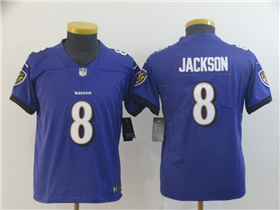Baltimore Ravens #8 Lamar Jackson Youth Purple Vapor Limited Jersey