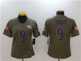 Baltimore Ravens #9 Justin Tucker Women's Olive Salute To Service Limited Jersey